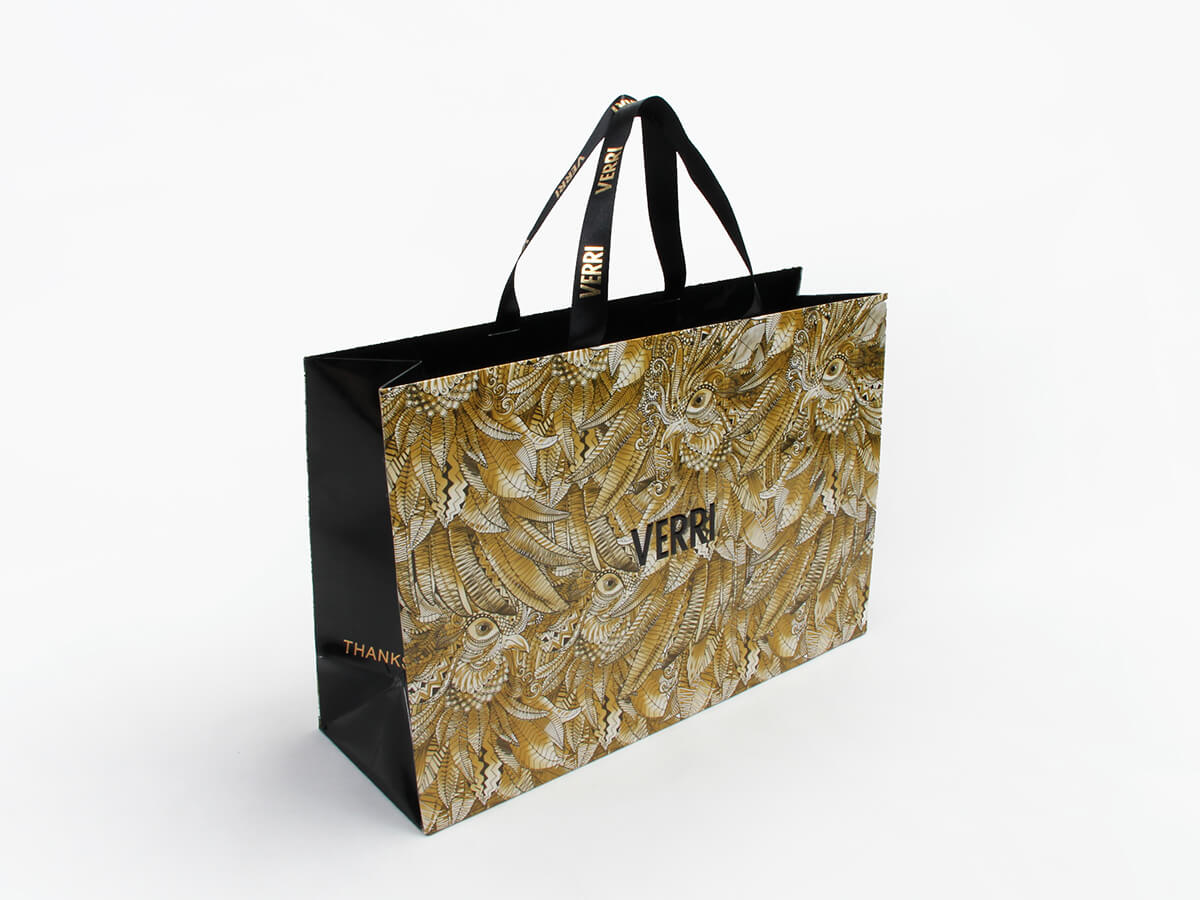 Luxury Garment Shopping Paper Bags Side Display