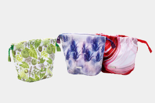 Natural Style Design Polyester Cosmetic Bags With Drawstring Closure