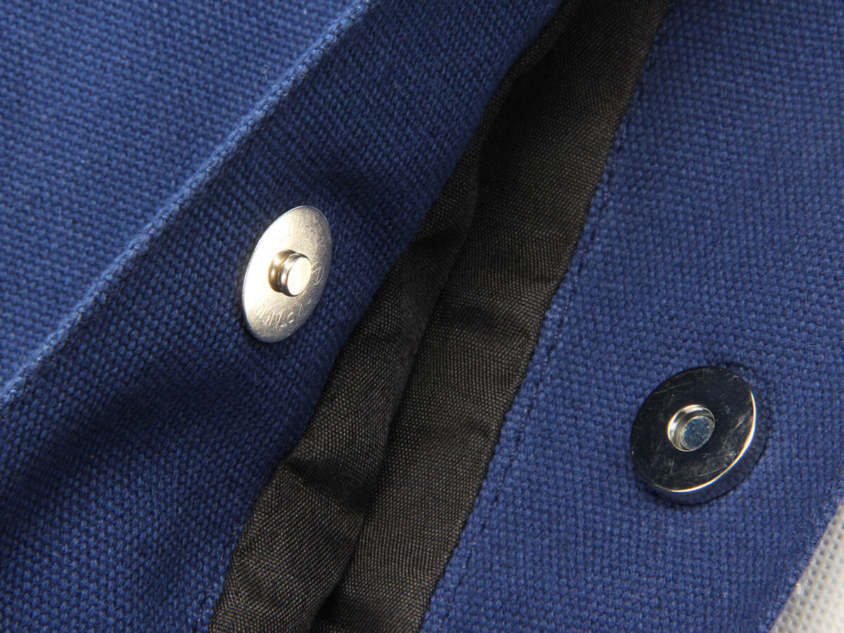 Navy Blue Canvas Shoping Bags Covered Button