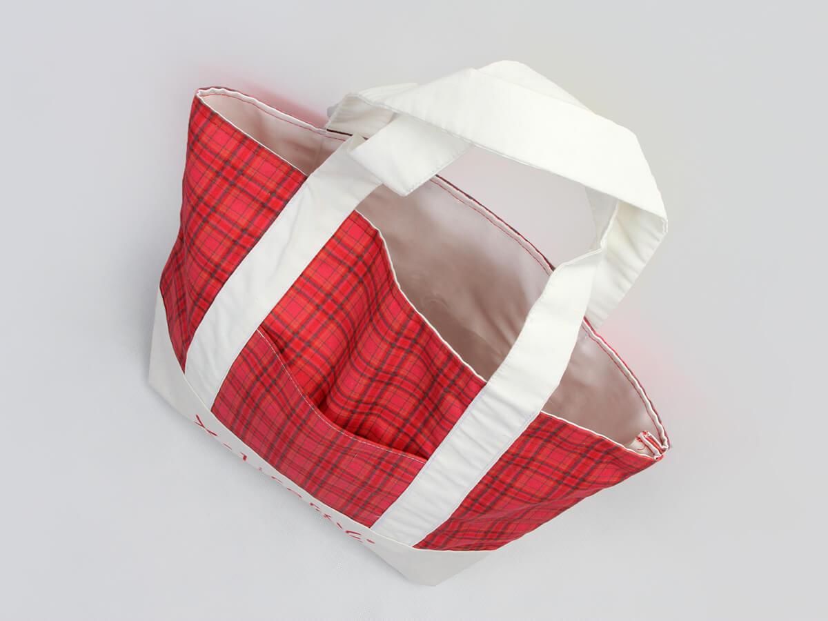 Newstep Desgine Checked Canvas Tote Bags Handle Detail