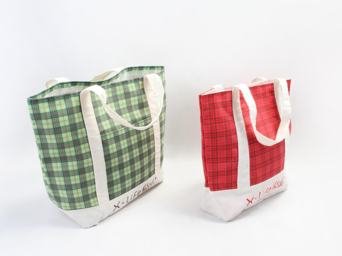Newstep Desgine Checked Canvas Tote Bags Size Detail