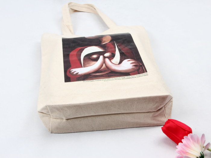 Oil Painting Grocery Canvas Tote Bags Bottom Display