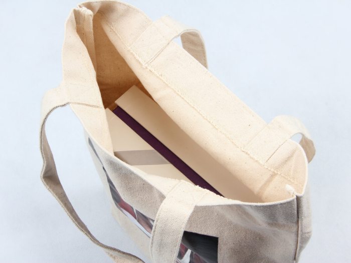 Oil Painting Grocery Canvas Tote Bags Hem Detail