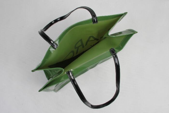 Original Glossy Green PVC Shopping Bags Open