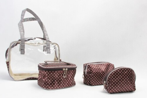 Portable Polka Dots Pvc Cosmetic Toiletry Bags Set style