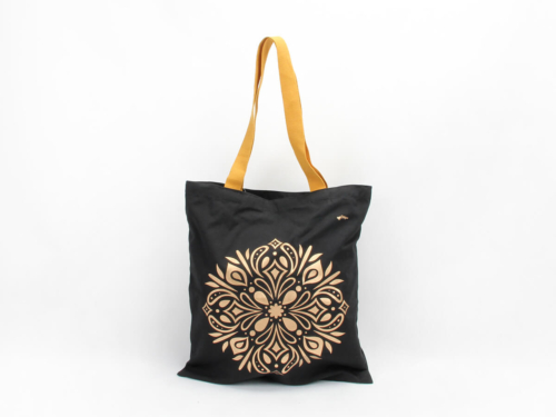 Premium Black Gold Cotton Handle Bags