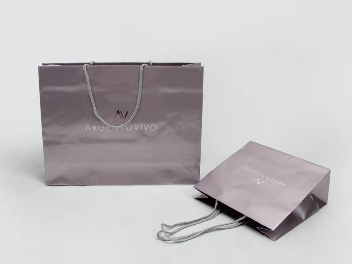 Premium Gloss Garment Paper Bags Set Corner Display