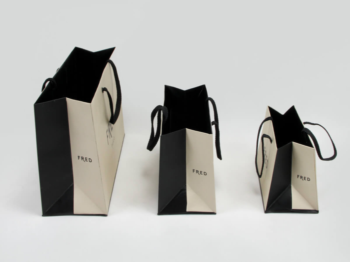 Premium Jewelry Shopping Paper Bags Side Display