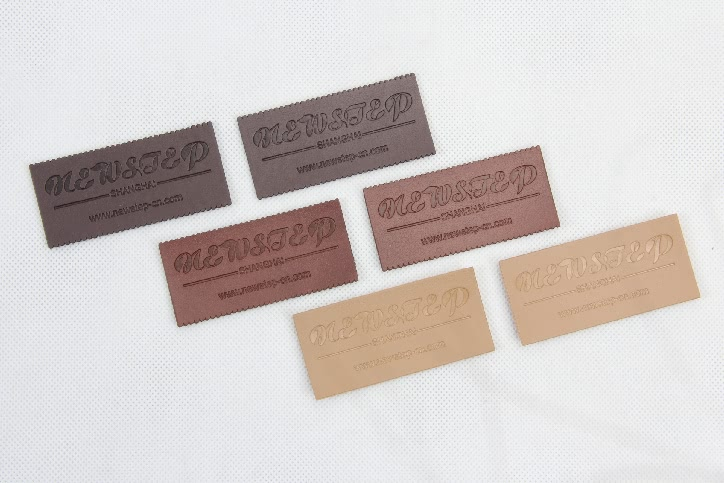 Premium PU Leather Clothing Woven Labels Tags style