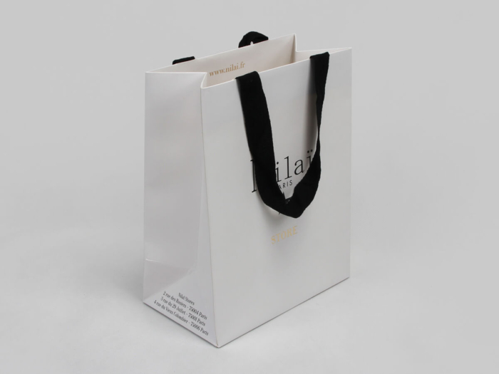Pure White Jewelry Shopping Paper Bags Side Display
