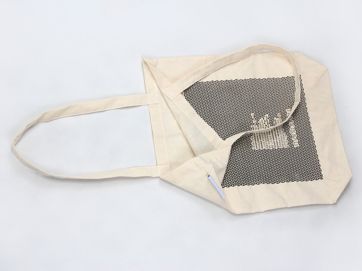 Reusable Geometric Cotton Tote Bags Handle Detail