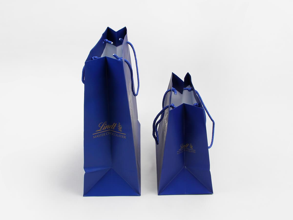 Sea Blue Garment Shopping Paper Bags Corner Detail
