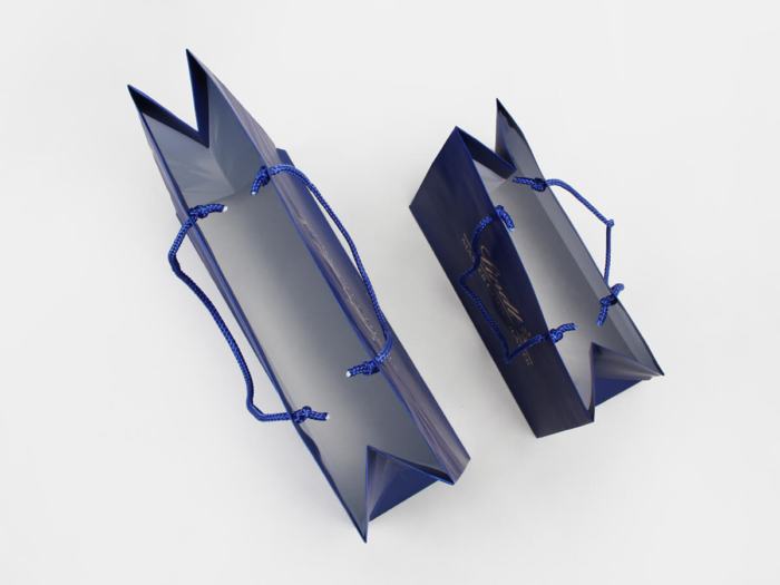 Sea Blue Garment Shopping Paper Bags Inside Detail