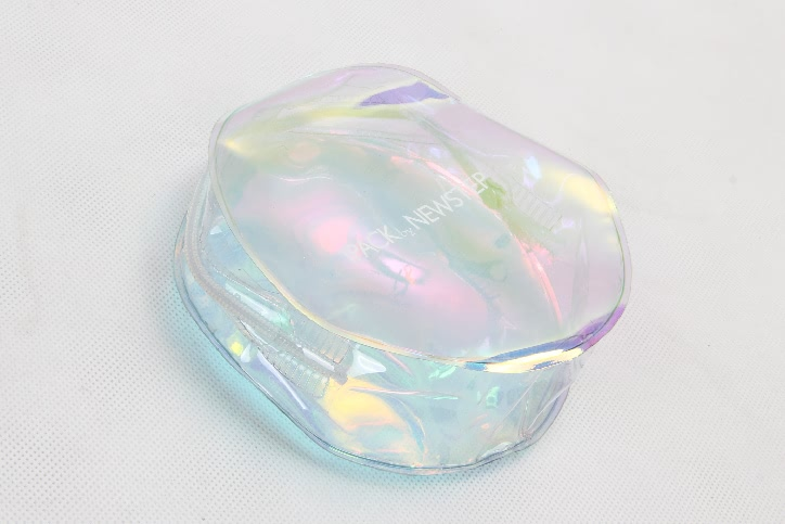 Small Cute Round Pvc Cosmetic Bags With Rainbow Iridescent Film side