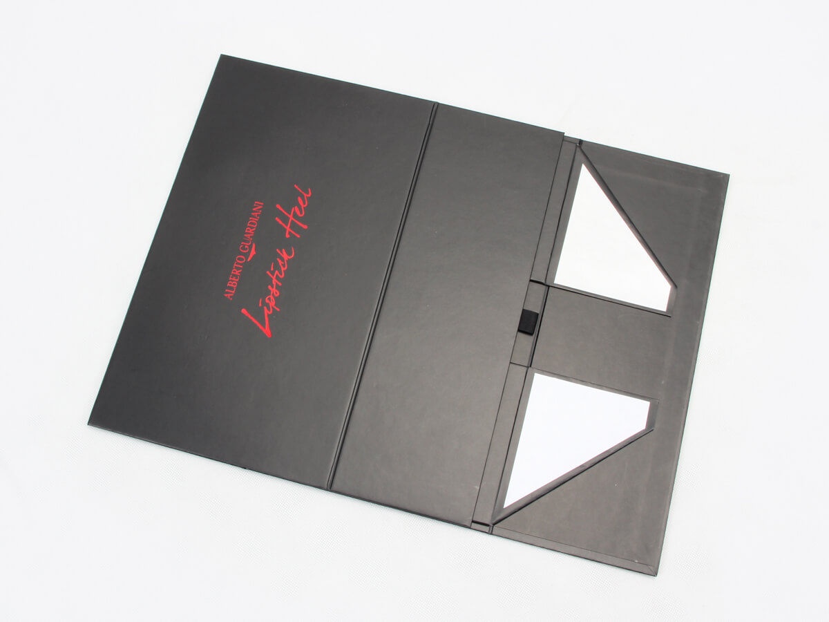 Special Luxury Black Shoe Packaging Boxes Folding Display