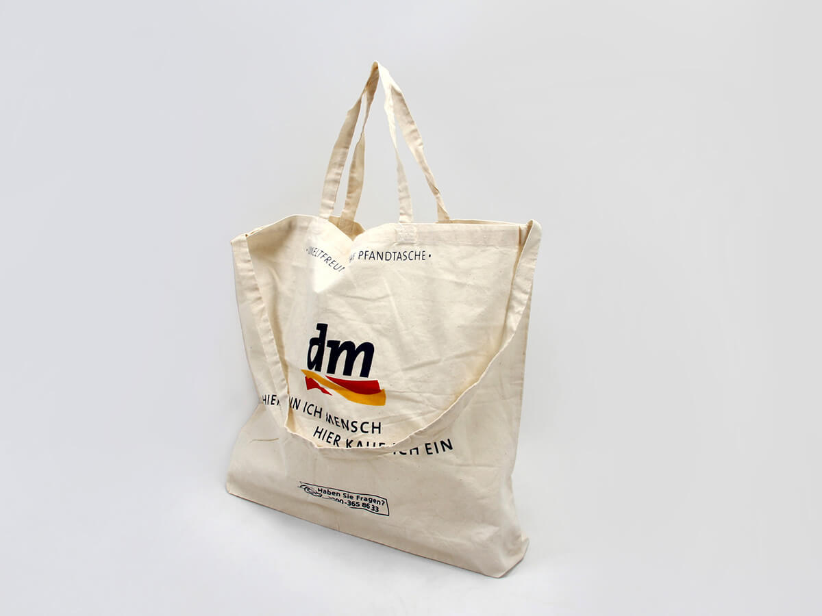 Supermarket Cotton Shopping Bags Side Display