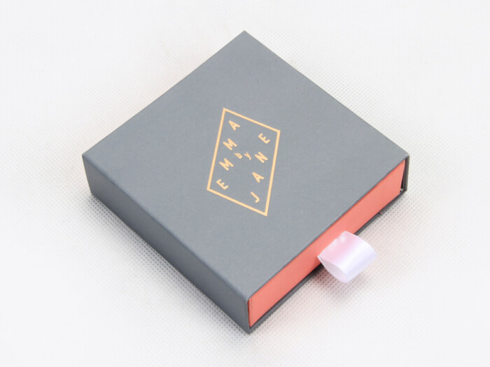 Upscale Grey Jewelry Packaging Boxes Left Display