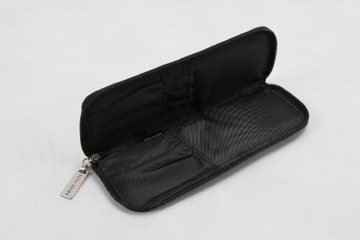 Women's Long Black Faux Leather Cosmetic Bags Open