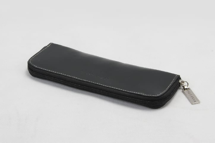 Women's Long Black Faux Leather Cosmetic Bags Side