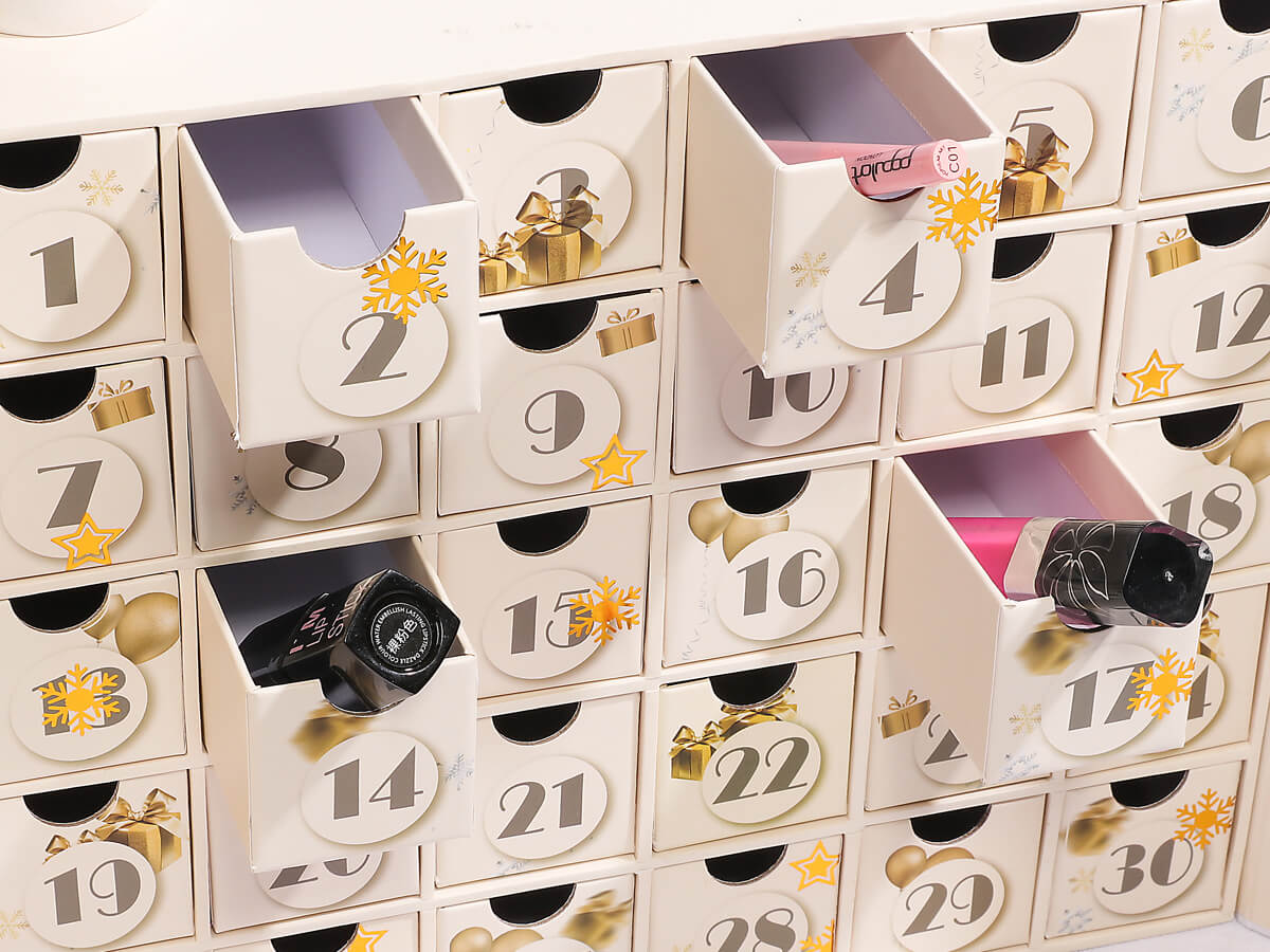 Beauty Christmas Calendar Packaging Boxes Drawer Boxes Detail