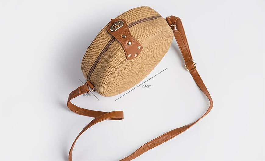 Fashion Round Lafite Straw Bag Size