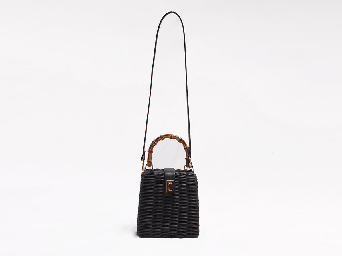 Black Rattan Handle Bag Display