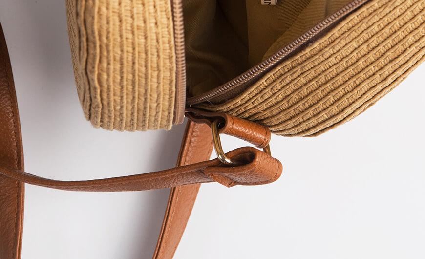 Fashion Round Lafite Straw Bag Zipper Display