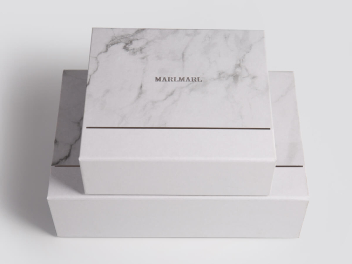 Marble Pattern Gift Packaging Folding Rigid Boxes Corner Detail