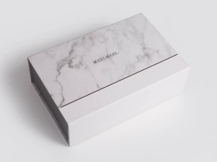Marble Pattern Gift Packaging Folding Rigid Boxes Side Display
