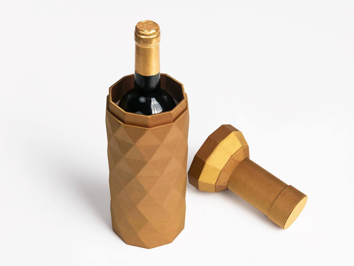 Original Desgine Wine Bottle Shaped Packaging Boxes Open Way