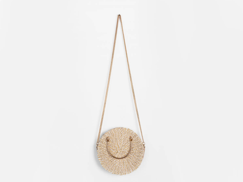Premium Round Crossbody Paper Straw Bag With Chain Handle