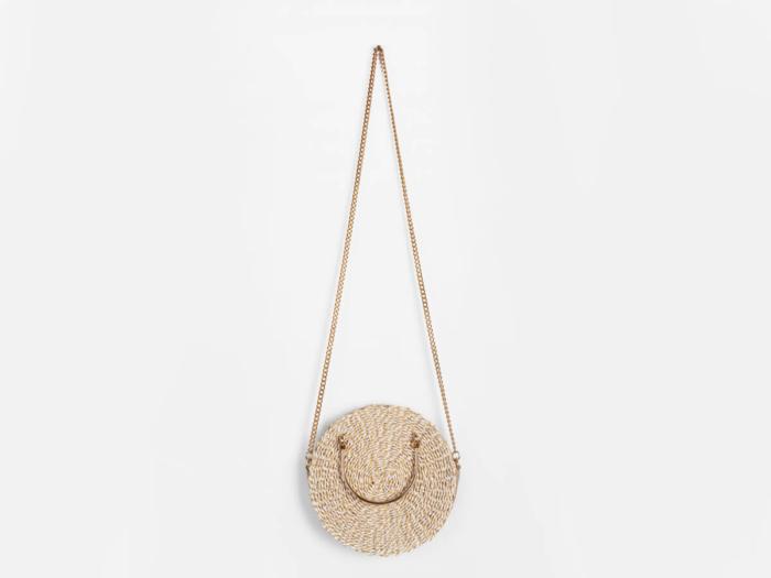 Premium Round Crossbody Paper Straw Bag With Chain Handle
