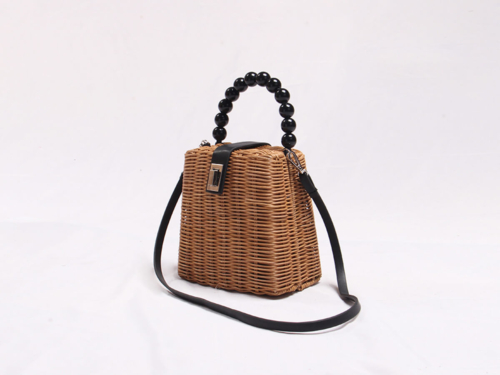 Rattan Handle Bag With Bamboo and Bead Handle