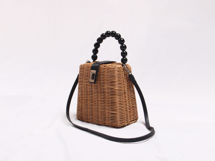 Rattan Handle Bag With Bamboo and Bead Handle