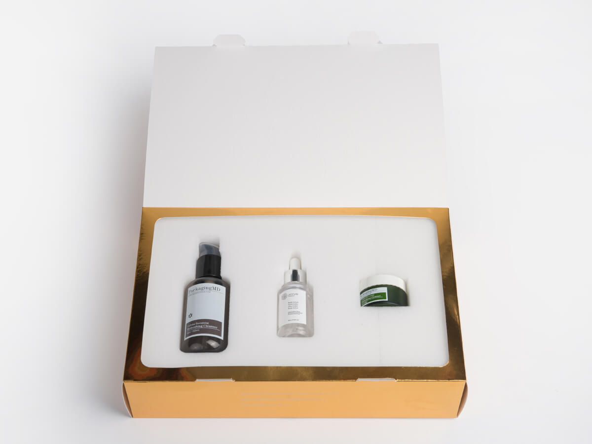 Skin Care Set Packaging Boxes Open Way