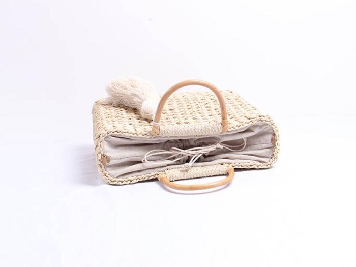 Woven Corn Husk Beach Straw Bag Inside Material