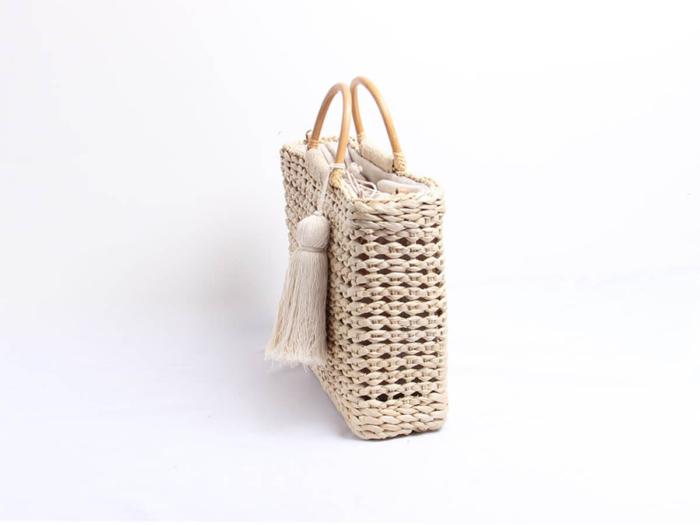 Woven Corn Husk Beach Straw Bag Side Display