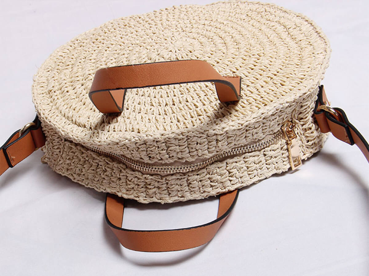 Woven Lafite Straw Bag Handle Detail