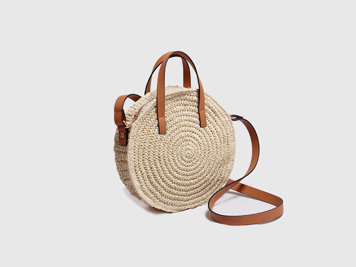 Woven Lafite Straw Handle Bag Leather Handle