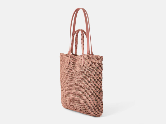 Woven Paper Straw Pink Beach Handle Bag