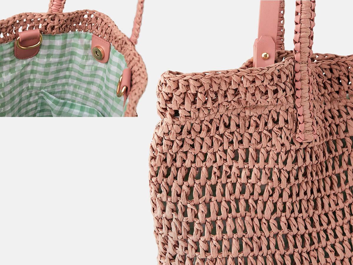 Woven Paper Straw Pink Beach Handle Bag Inside Detail