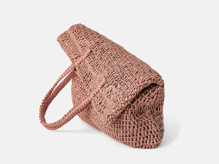 Woven Paper Straw Pink Beach Handle Bag Material