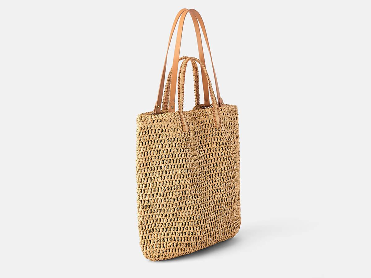 Woven Paper Straw Yellow Beach Handle Bag