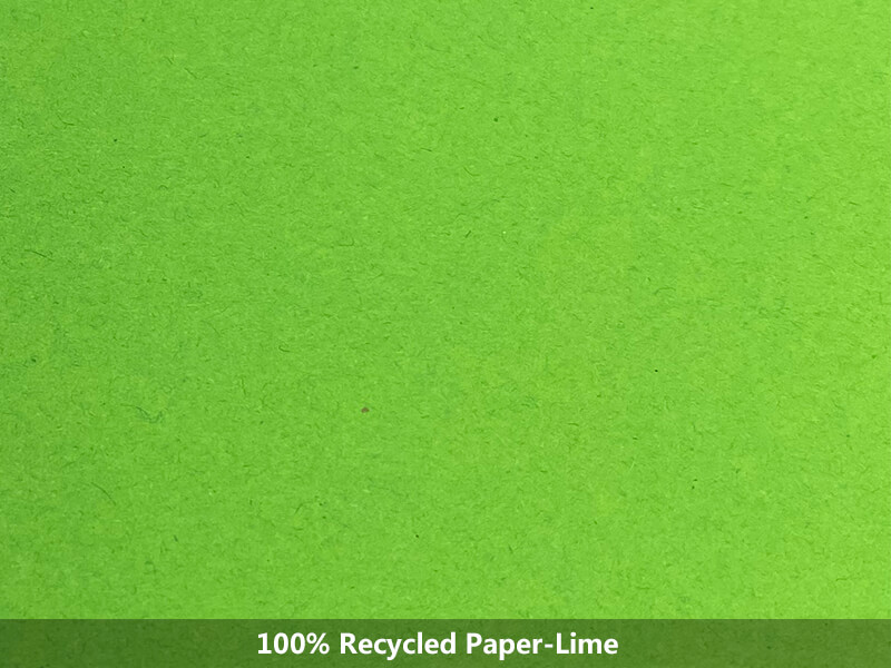 100% recycled paper-lime