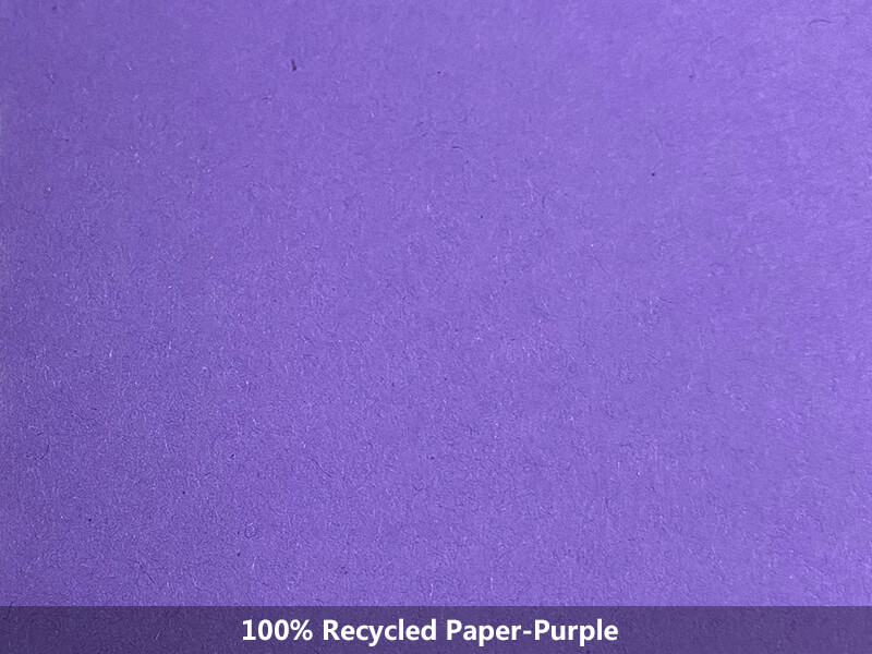 100% recycled paper-purple