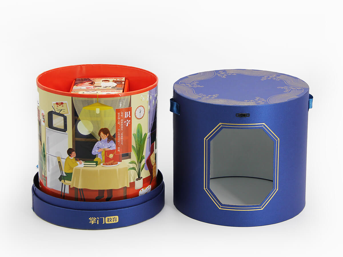 cylinder gift box with spin inner displa