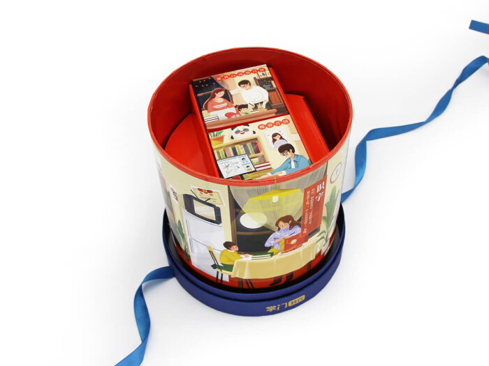 cylinder gift box with spin inner dispaly
